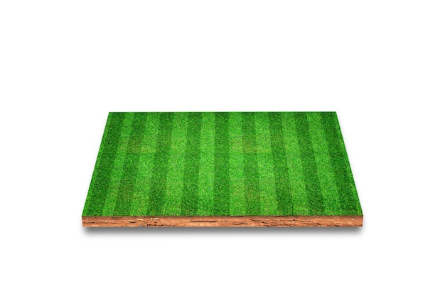 Soil cubical cross section with soccer field, green grass, isolated. 3d rendering.