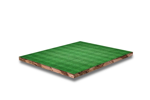 Soil cubical cross section with soccer field, green grass, isolated on white