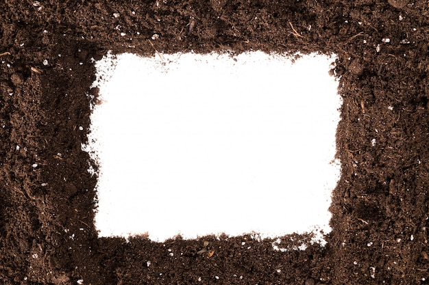 Soil or dirt section isolated on white surface