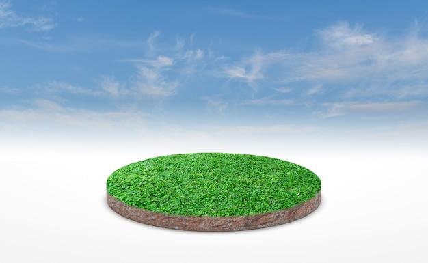푸른 하늘 위에 푸른 잔디와 토양 지상 단면