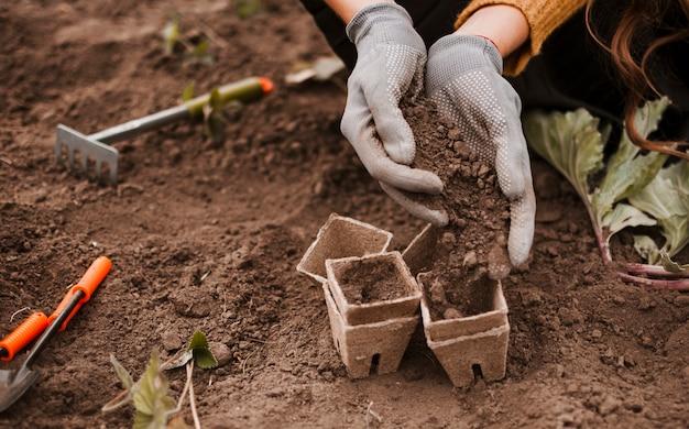 Soil in pots