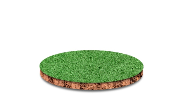 Soil round cross section with green grass field isolated.