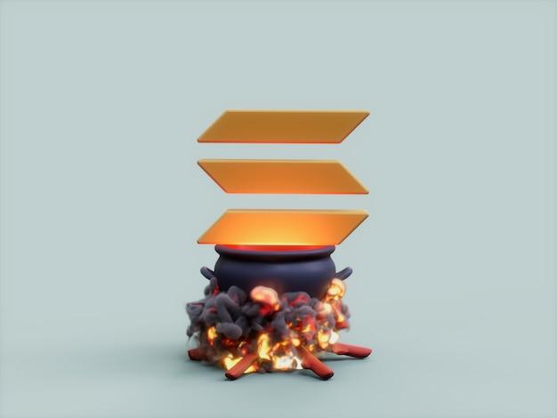 Solana 가마솥 화재 요리사 암호화 통화 3d 그림 렌더링