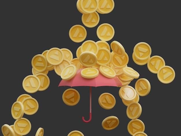 Solana 동전 비가 암호화 통화 우산 보호 커버 격리 된 3d 그림 개념 렌더링
