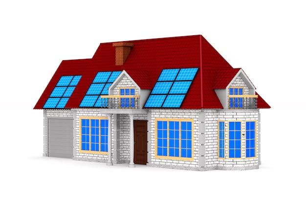 Солнечная батарея и дом на белой поверхности. изолированная иллюстрация 3d.