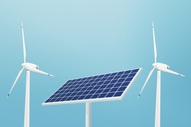 Фотоэлемент с солнечной батареей и ветротурбиной, 3d иллюстрации