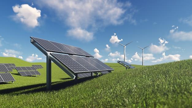 푸른 잔디에 태양 전지 및 풍력 터빈 프리미엄 사진