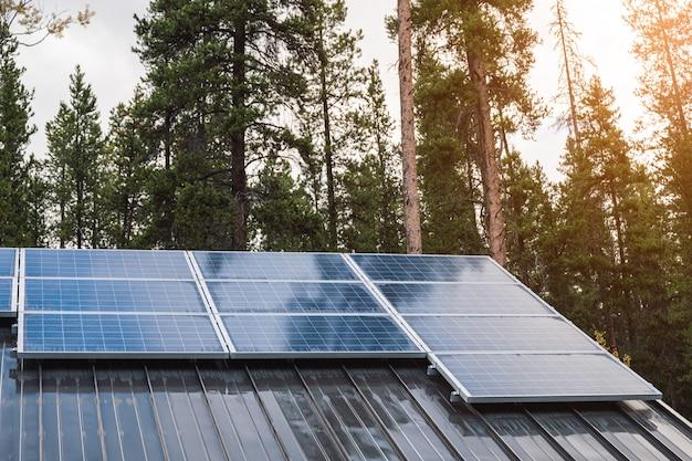 Панель солнечных батарей на крыше дома с солнечным светом, сияющим в сосновом лесу