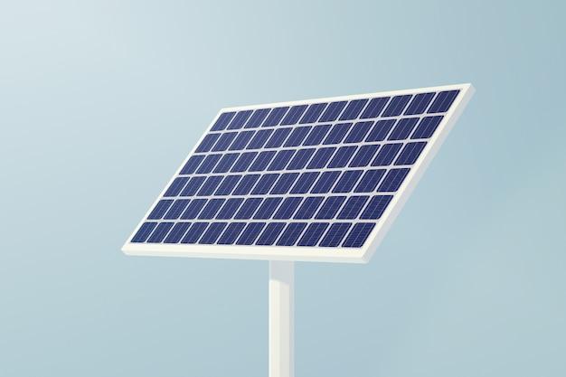 Solar cell panels innovation electric power technology, 3d illustration on blue sky background.