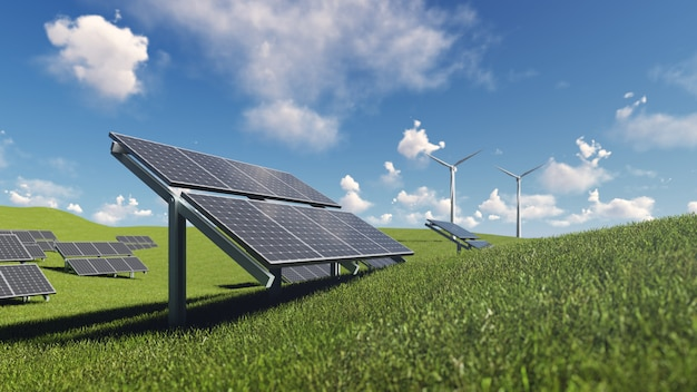 Solar cell and wind turbine on green grass
