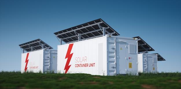 태양열 컨테이너 유닛. 늦은 화창한 날씨에 신선한 녹색 잔디에 장착된 검은색 태양 전지 패널이 있는 흰색 산업용 배터리 에너지 저장 컨테이너의 3d 렌더링 개념.