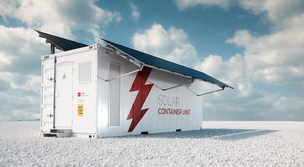 태양열 컨테이너 유닛. 3d 렌더링 개념은 화창한 날씨에 빈 풍경에 흰색 자갈에 장착된 검은색 태양 전지 패널이 있는 흰색 산업용 배터리 에너지 저장 컨테이너입니다.