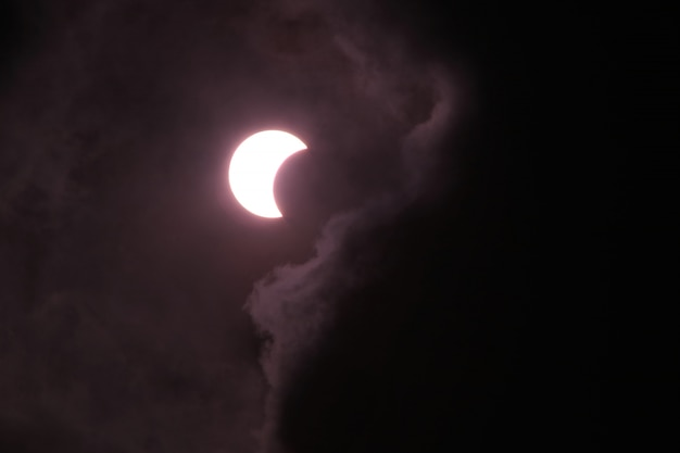 The solar eclipse is not full above the sky.