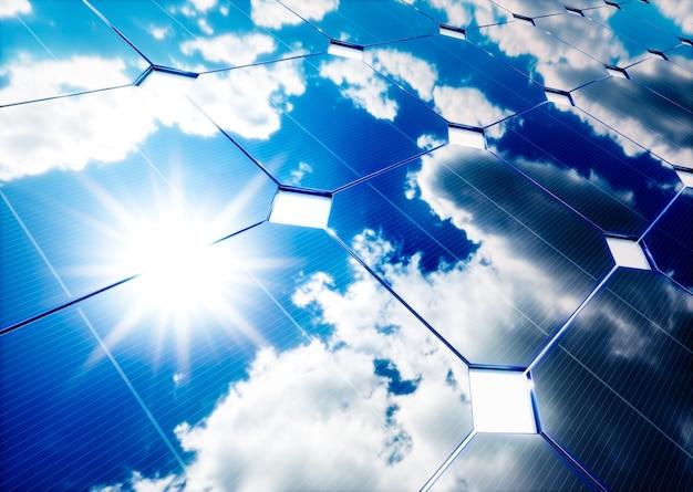 Концепция солнечной энергии. отражение голубого неба на фотоэлектрической панели. 3d-рендеринг.
