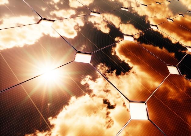 Концепция солнечной энергии отражение теплого неба на фотоэлектрической панели. 3d-рендеринг.