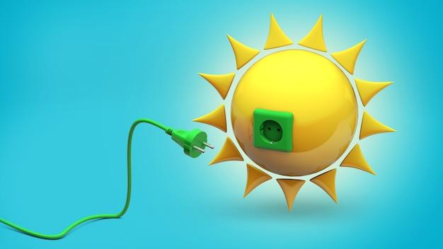 Солнечная энергия. солнце с розеткой и зеленым кабелем с вилкой. синий фон. 3d визуализация.