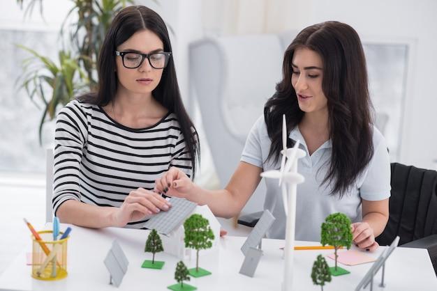 太陽光エネルギー。障害のある若い女性と同僚が提案について話し合い、代替エネルギーモデルを使用する