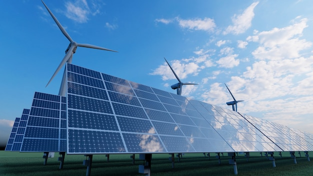 現場でのソーラーパネルと風力タービン