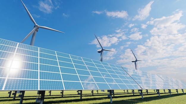 필드에 태양 전지 패널과 풍력 터빈