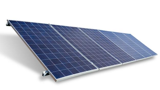 Solar panel on blue sky background.