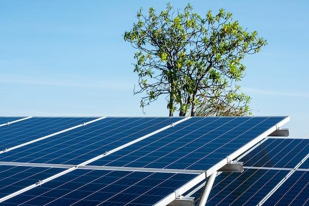 Solar panel on blue sky.