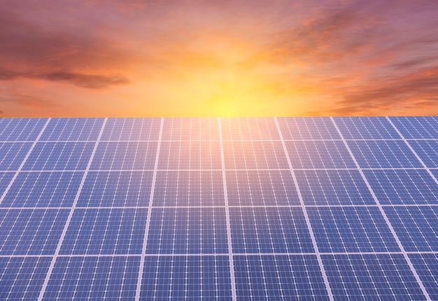Solar panel on colorful sky background and sunlight, alternative energy concept