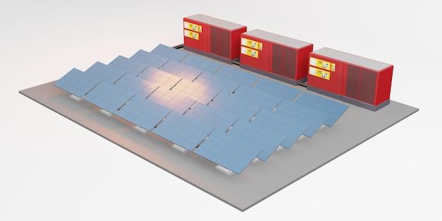 Solar panel mockup of electric storage center solar energy 3d illustration