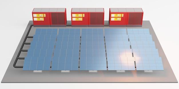 Макет солнечной панели центра хранения электроэнергии солнечная энергия 3d иллюстрация