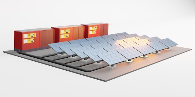 전기 저장 센터 태양 에너지 3d 그림의 태양 전지 패널 모형