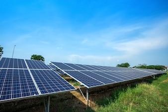Solar panel on blue sky background, Alternative energy concept