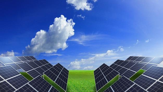 青い空と緑の牧草地のソーラーパネル、3dレンダリング