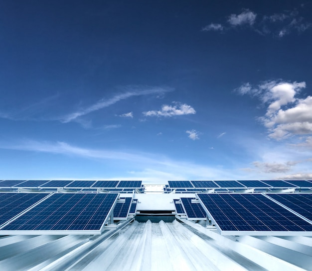 Solar panel photovoltaic installation on a roof of a building, alternative electricity source