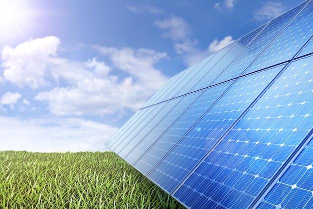 태양 전지판은 태양으로부터 녹색의 환경 친화적 인 에너지를 생산합니다.