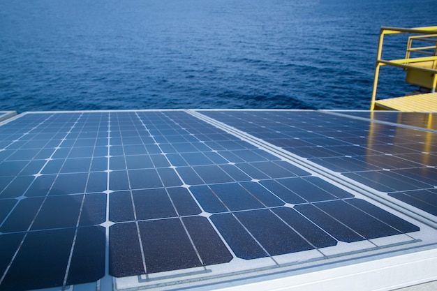 Solar panel renewable electricity use in the offshore.