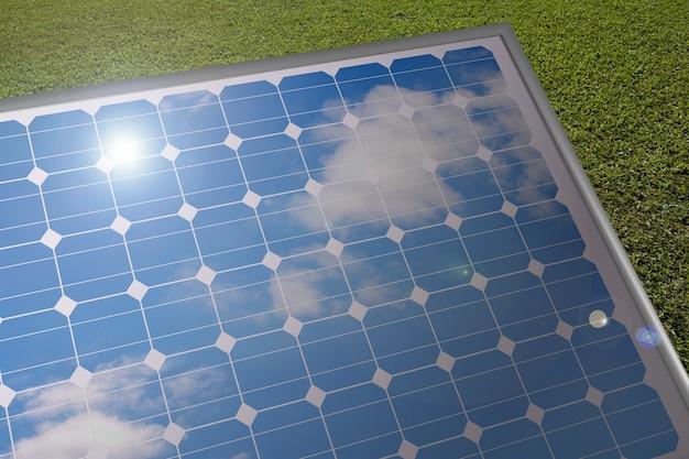 Солнечная панель, где отражается голубое небо.