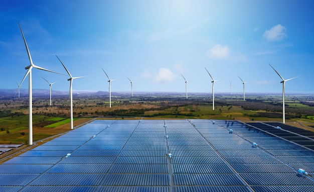 Solar panel and wind turbine farm clean energy.