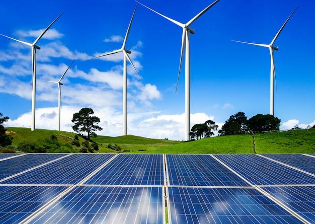 Solar panel and wind turbine farm clean energy