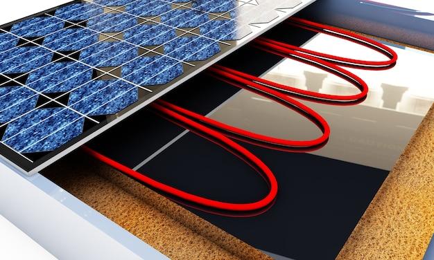 Панели солнечных батарей, 3d-рендеринг, изолированные на белом фоне