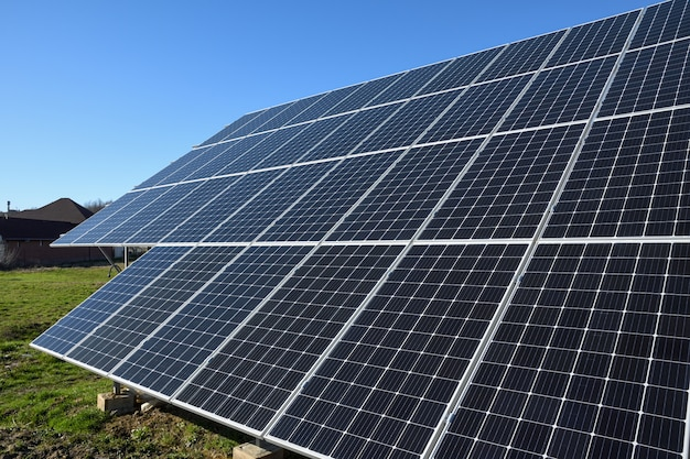 Solar panels against blue sky background.against the deep blue sky in suny weather