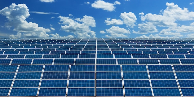 Solar panels alternative energy with blue sky