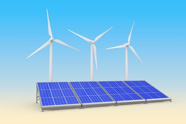 Панели солнечных батарей и ветряные турбины на синем фоне. 3d рендеринг