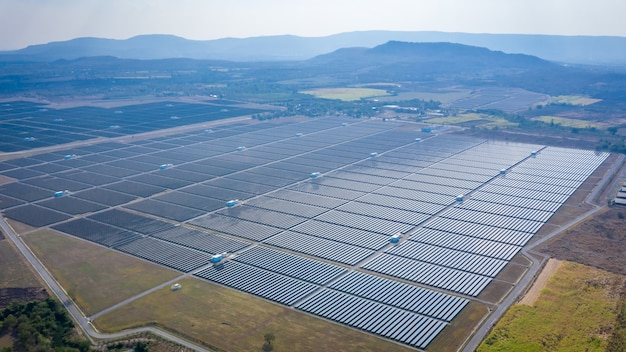 Solar panels asia largest solar power plant industry above view