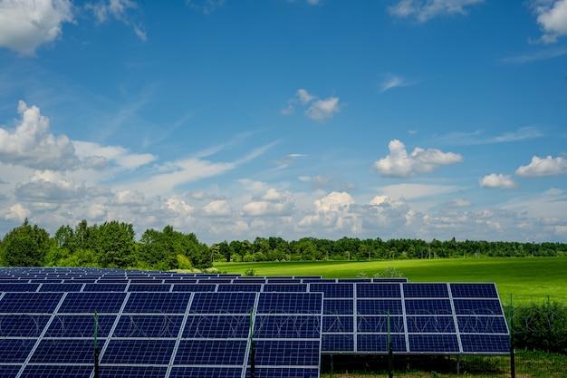 Solar panels on a blue sky background.