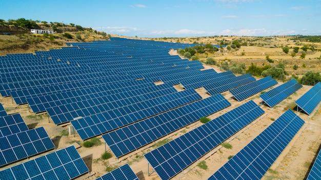Solar panels field in spain. renewable green alternative energy concept