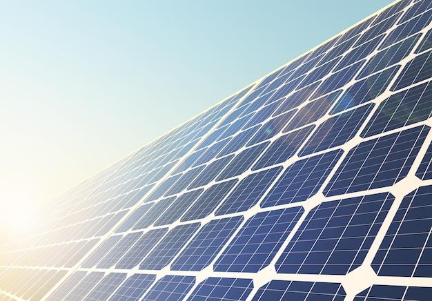 Панели солнечных батарей для выработки электроэнергии против голубого неба. 3d визуализация.