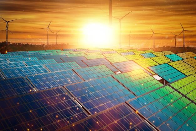 Солнечные панели в закатном небе с турбинами возобновляемых источников энергии ветряных турбин