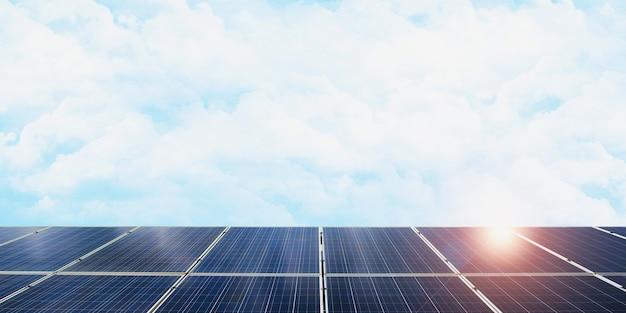 Солнечные панели смотрят в небо, чтобы получить солнечный свет 3d-иллюстрация