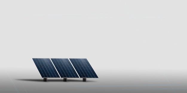 태양 전지판은 하늘을 올려다보며 햇빛 3d 일러스트레이션을 받습니다.