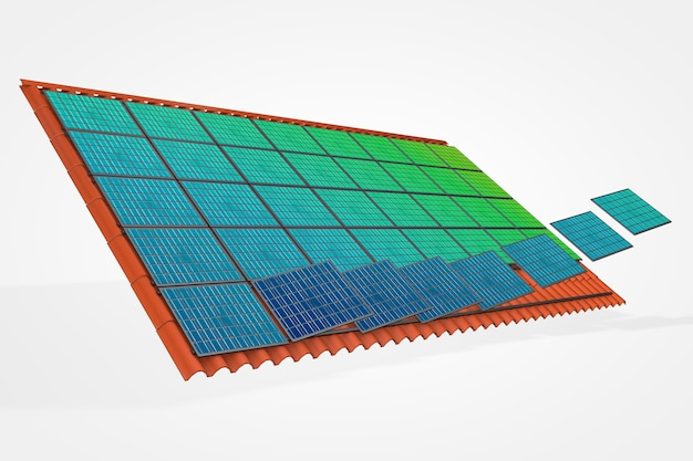 Панели солнечных батарей на черепичной крыше 3d иллюстрация