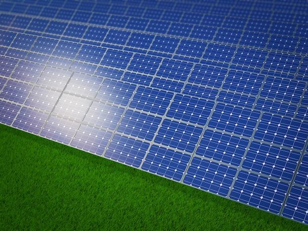 Панели солнечных батарей на зеленой траве Premium Фотографии